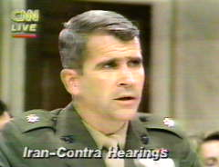 Photo of Olliver North testifying at the Iran Contra Hearings